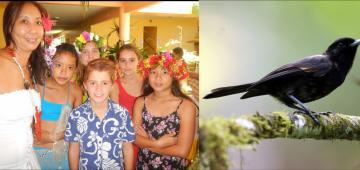 タヒチヒタキの保護活動を行った2+2学校の生徒たち 写真提供: Caroline Blanvillan